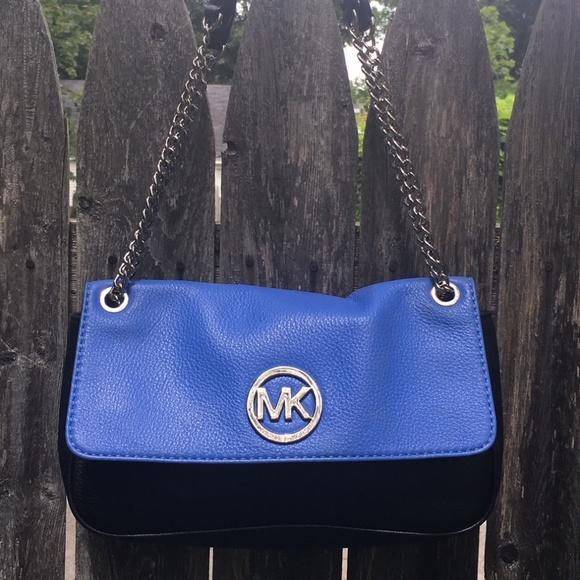 3de6d3bba577 Michael Kors Bags   Leather Black And Blue Shoulder Bag   Poshmark